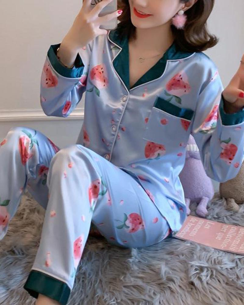 Satin Two-Piece Pajama Set фото