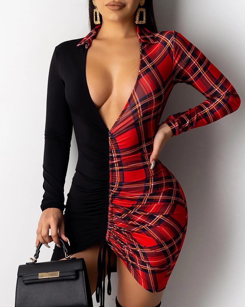 ivrose / Vestido ajustado con cordón y aplicación de estampado de cuadrícula