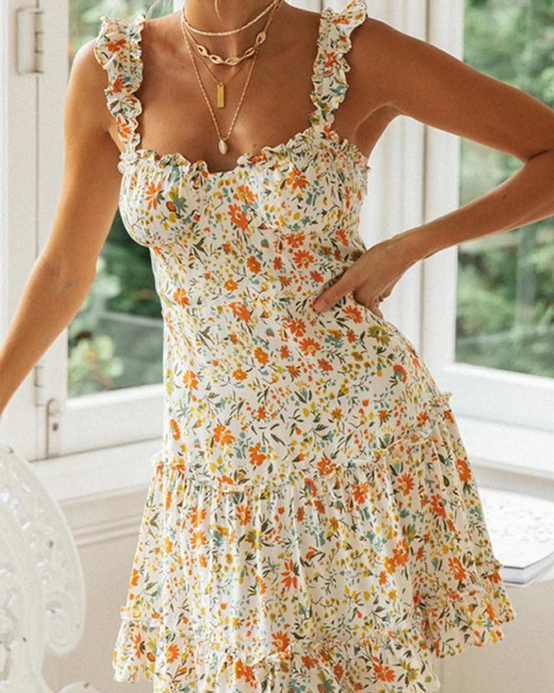 Floral Print Ruffle Trim Mini Dress фото