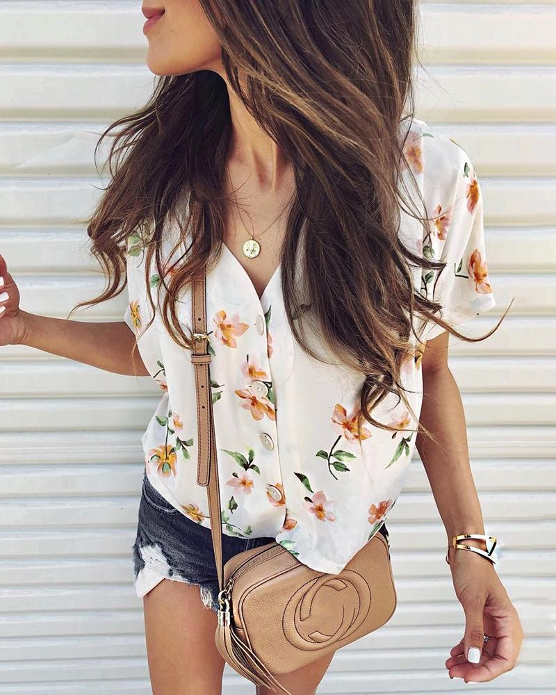 Short Sleeve Floral Print Casual Shirt