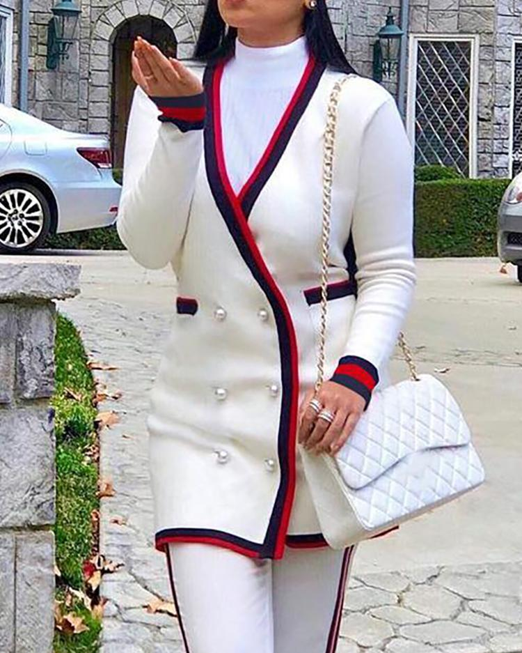 Contrast Binding Button Detail Coat