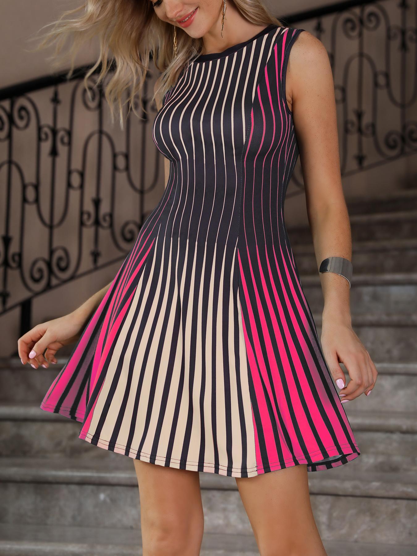 Sleeveless Multicolored Stripes Mini Dress фото