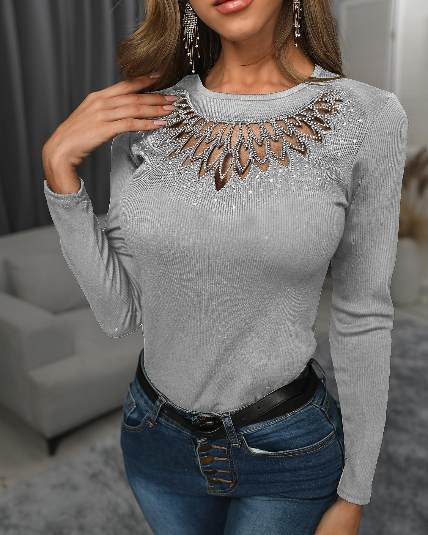 Hot Stamping Sheer Mesh Insert Long Sleeve Blouse фото