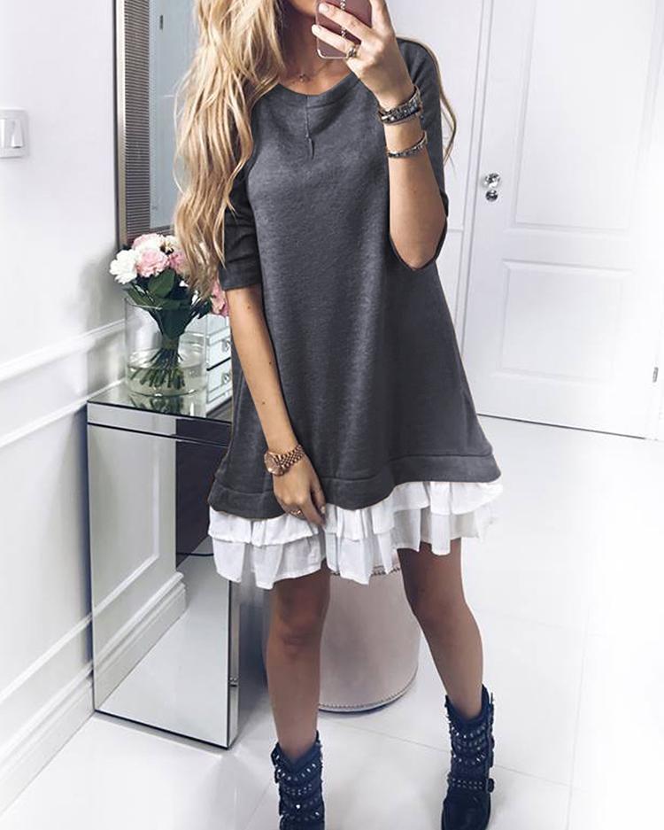 Patchwork Ruffles Hem Loose Sweatshirt Dress фото