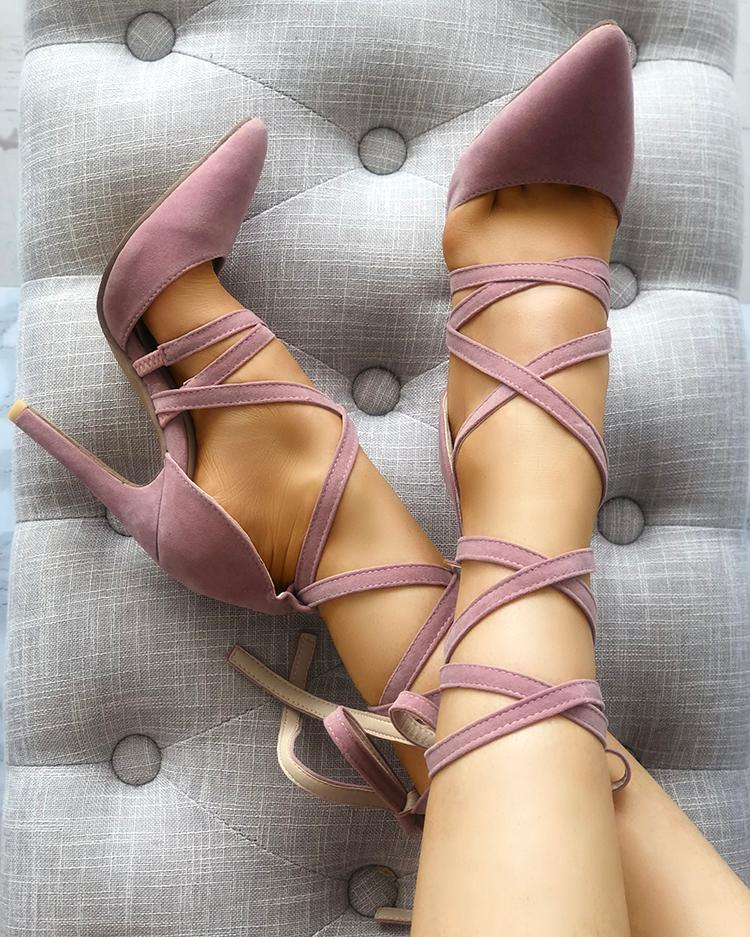 Solid Strappy Pointed Toe Thin Pumps