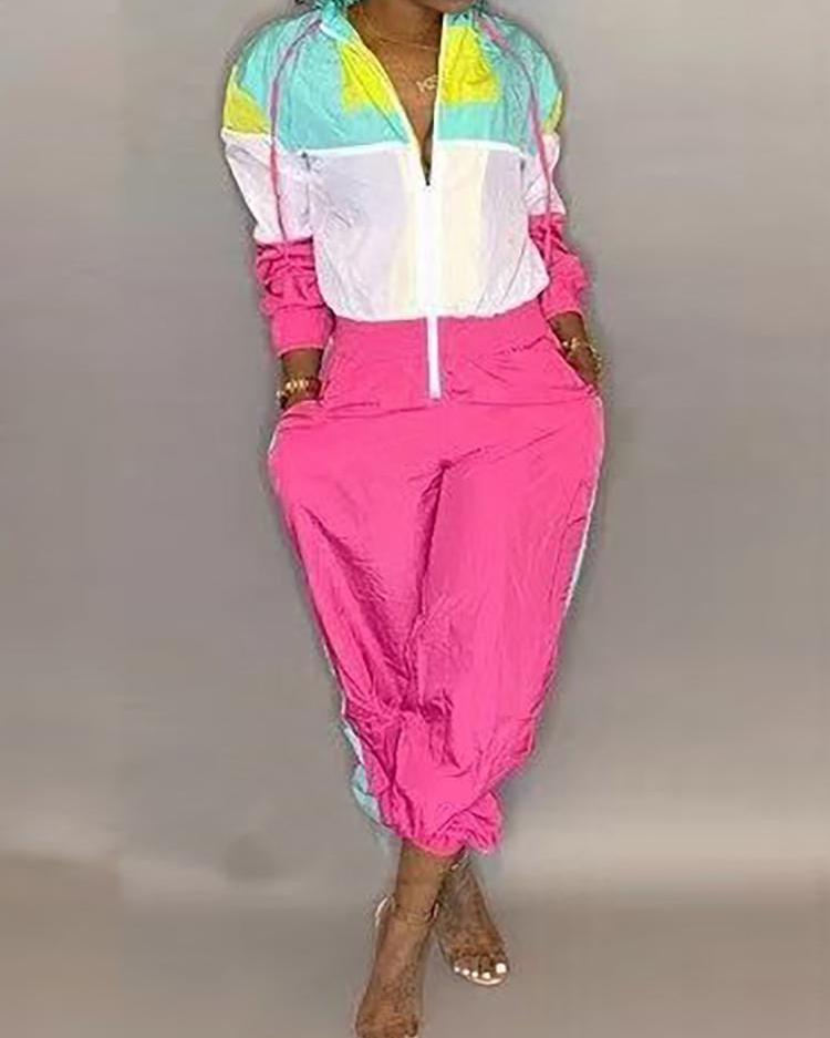 Contrast Color Zipper Up Hooded Jumpsuit