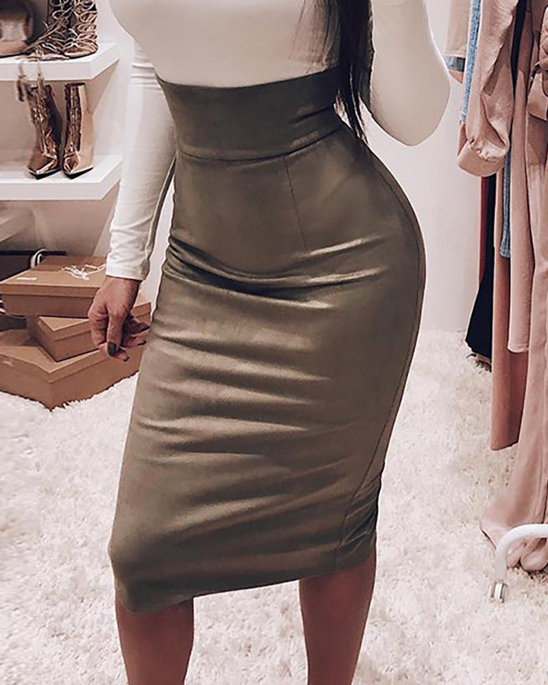 Solid High Waist Suede Skirt фото