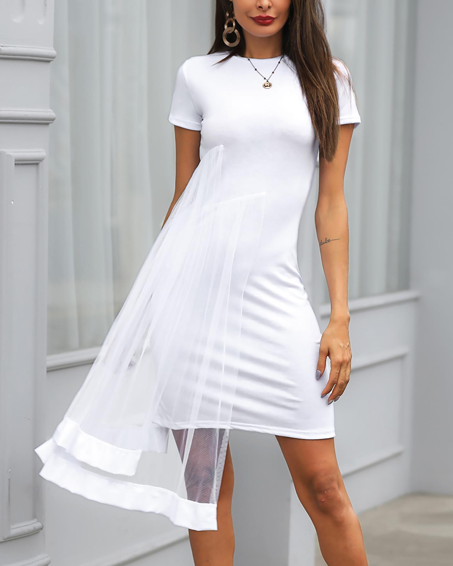 Short Sleeve Layered Mesh Design Dress фото