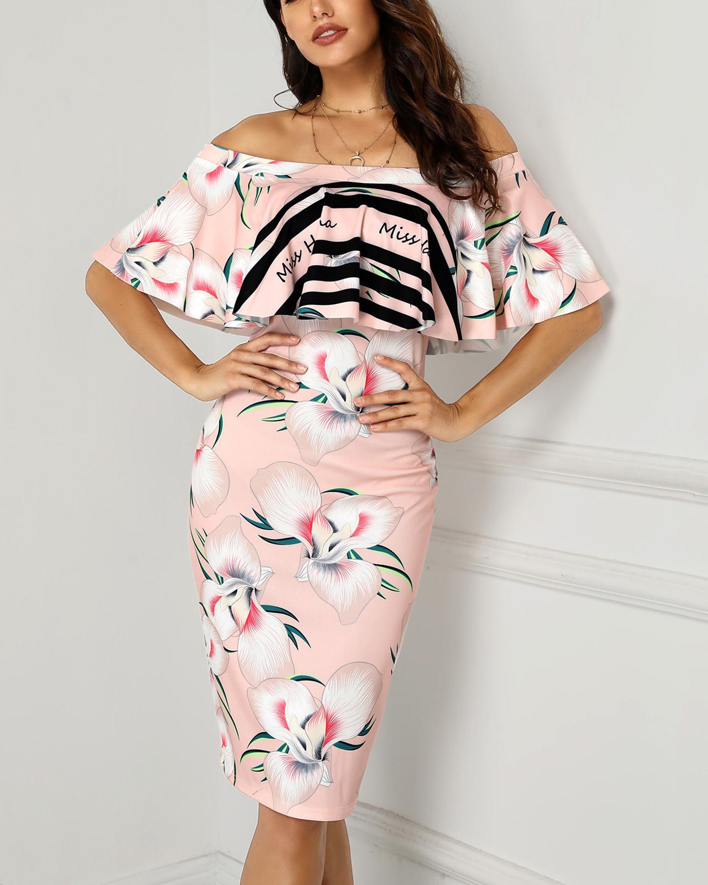 Floral Print Off Shoulder Bodycon Dress, Pink