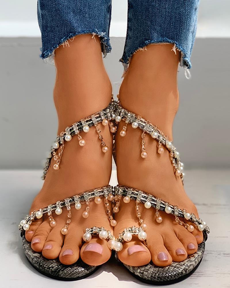 Snakeskin Diamante Beaded Toe Ring Flat Sandals фото