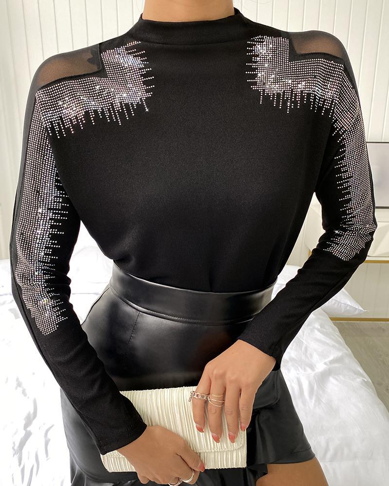 ivrose / Sheer Mesh Long Sleeve Studded Top
