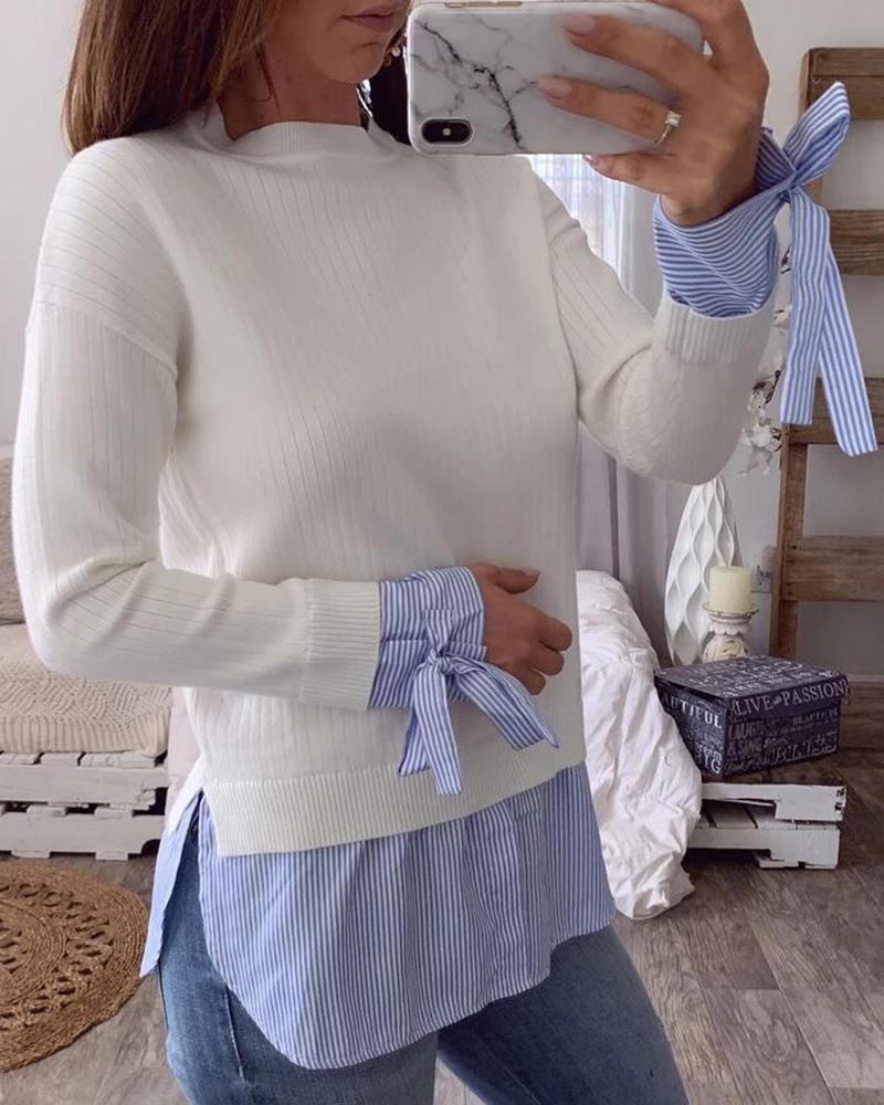 ivrose / Bowknot Design Patchwork Ribbed Blouse