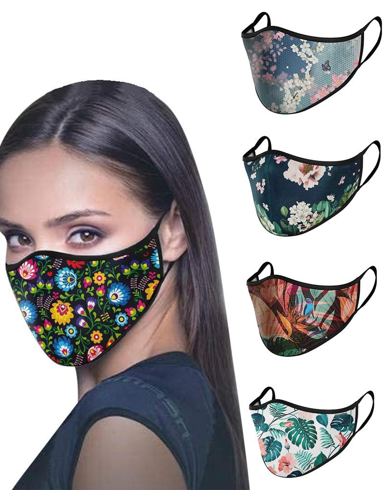 Floral / Leaf / Bird Print Colorblock Breathable Face Mask фото