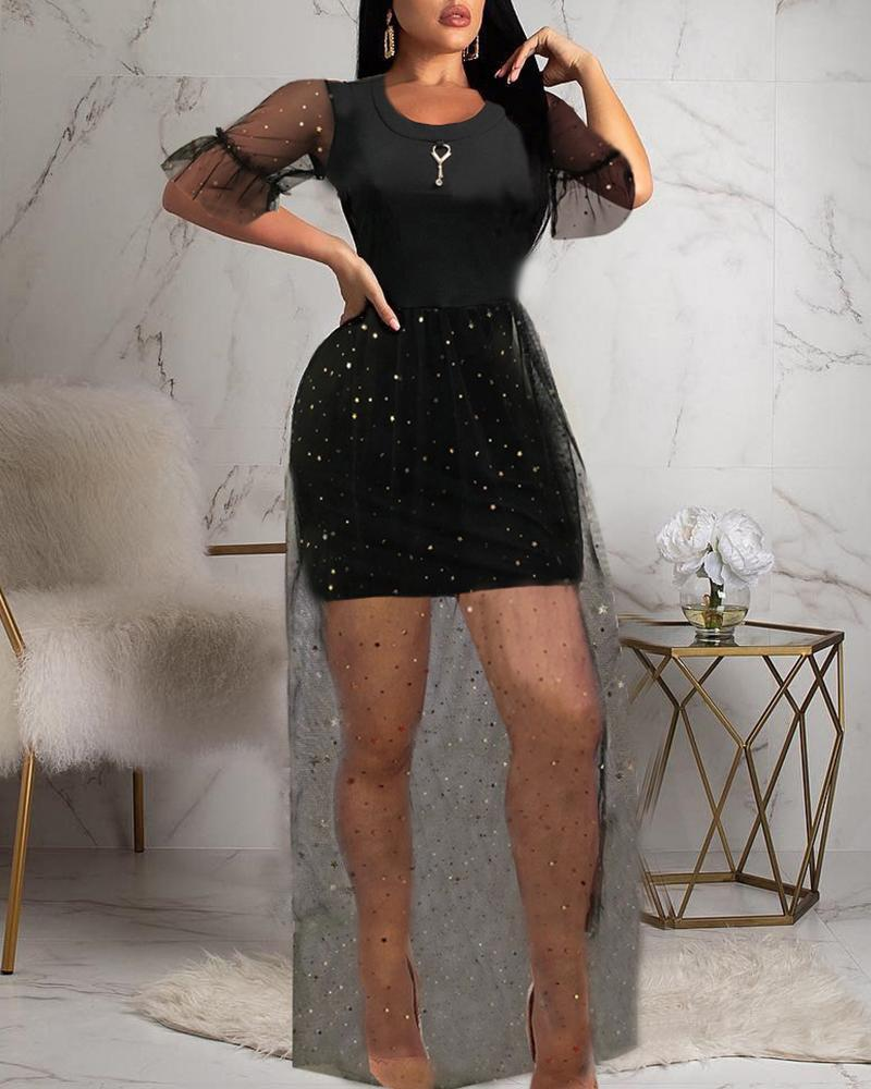 Black Glittering Mesh Patchwork Dress фото