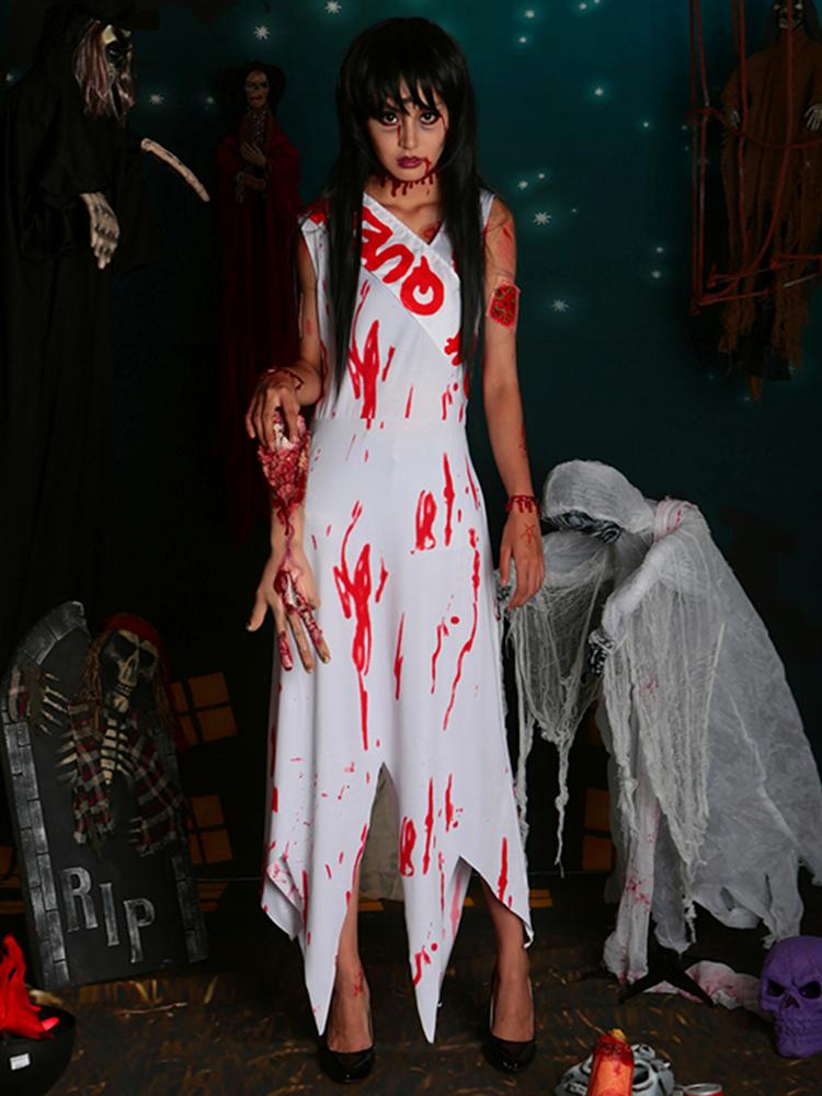 Women Adult Dead Zombie Prom Queen Halloween Costume Fancy Party Dress Set