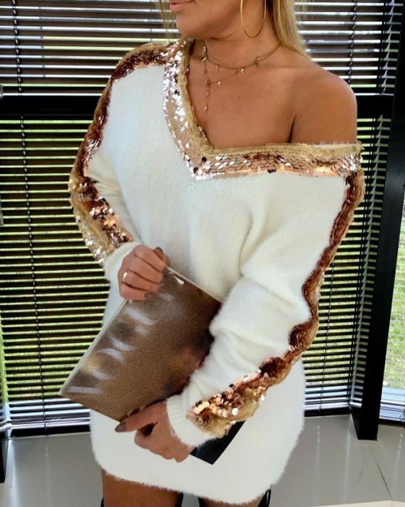 chicme / Vestido estilo suéter de manga larga con lentejuelas en bloques de color
