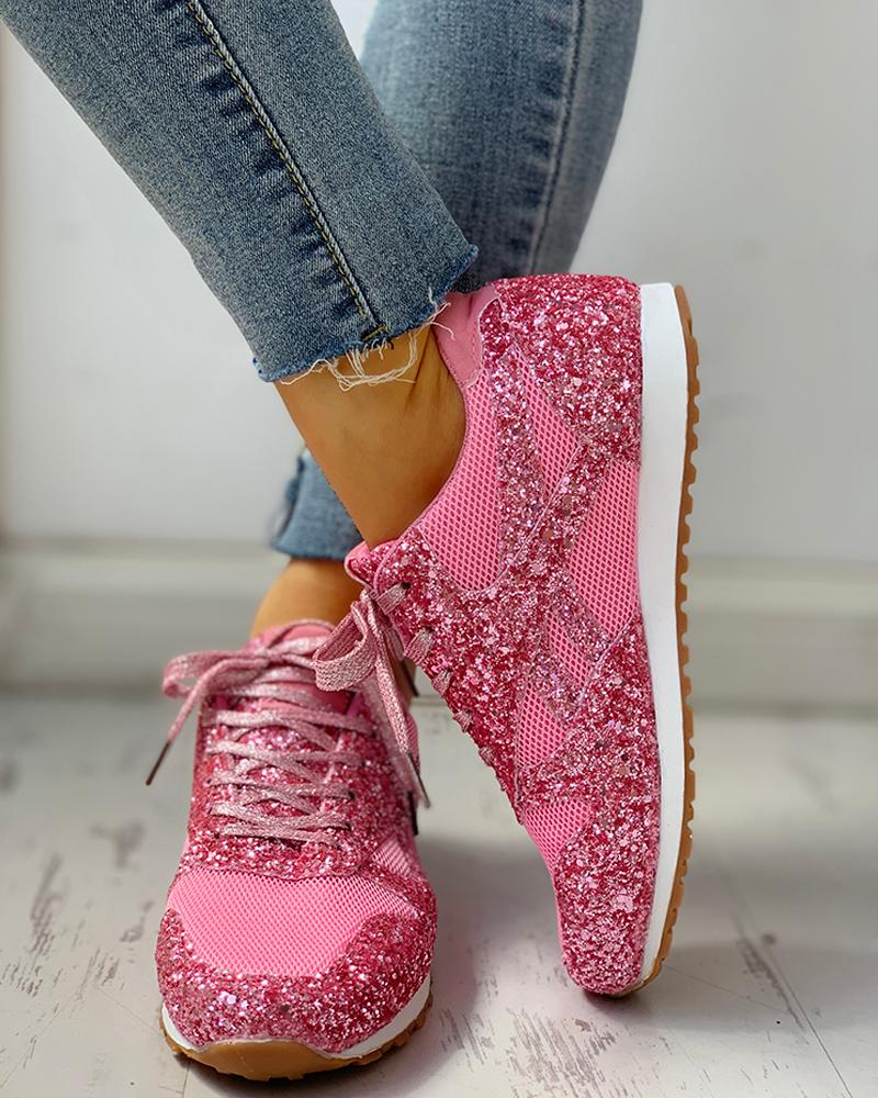 Solid Sequins Lace-Up Sport Sneakers фото