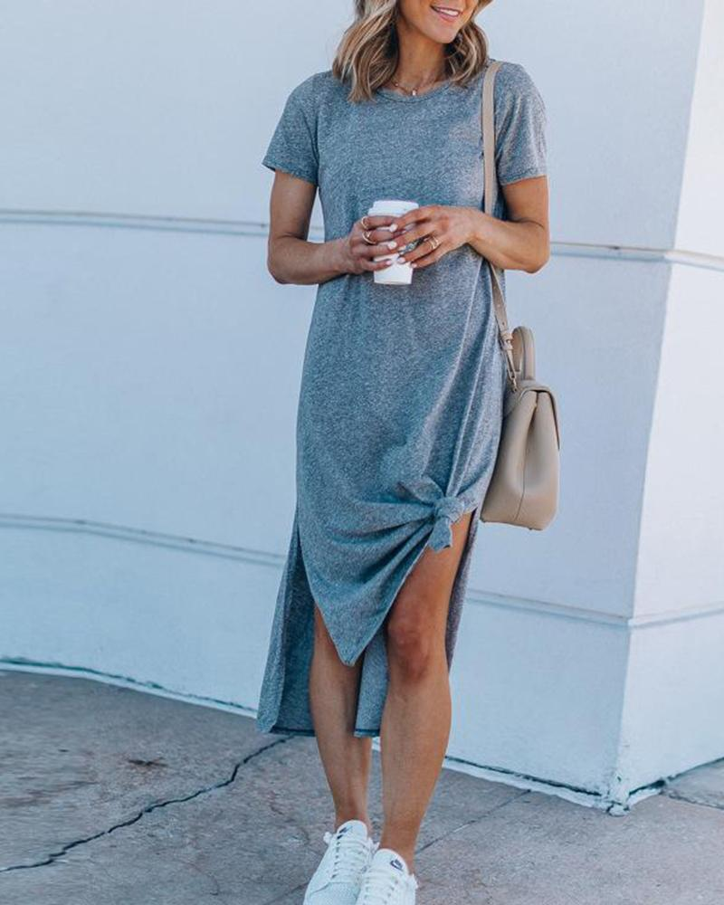 Round Neck Split Knotted Casual Dress фото