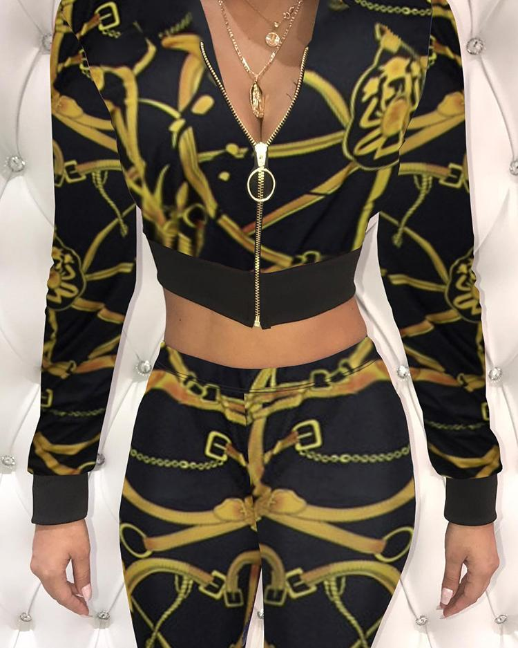 chicme / Stylish Print Zipper Up Cropped Slinky Pantsuit