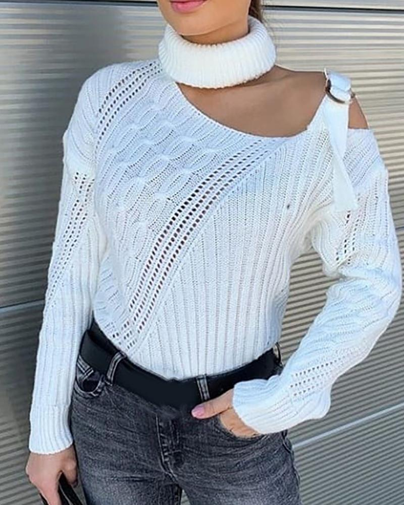 One Shoulder Buckled Knit Hollow Out Sweater фото