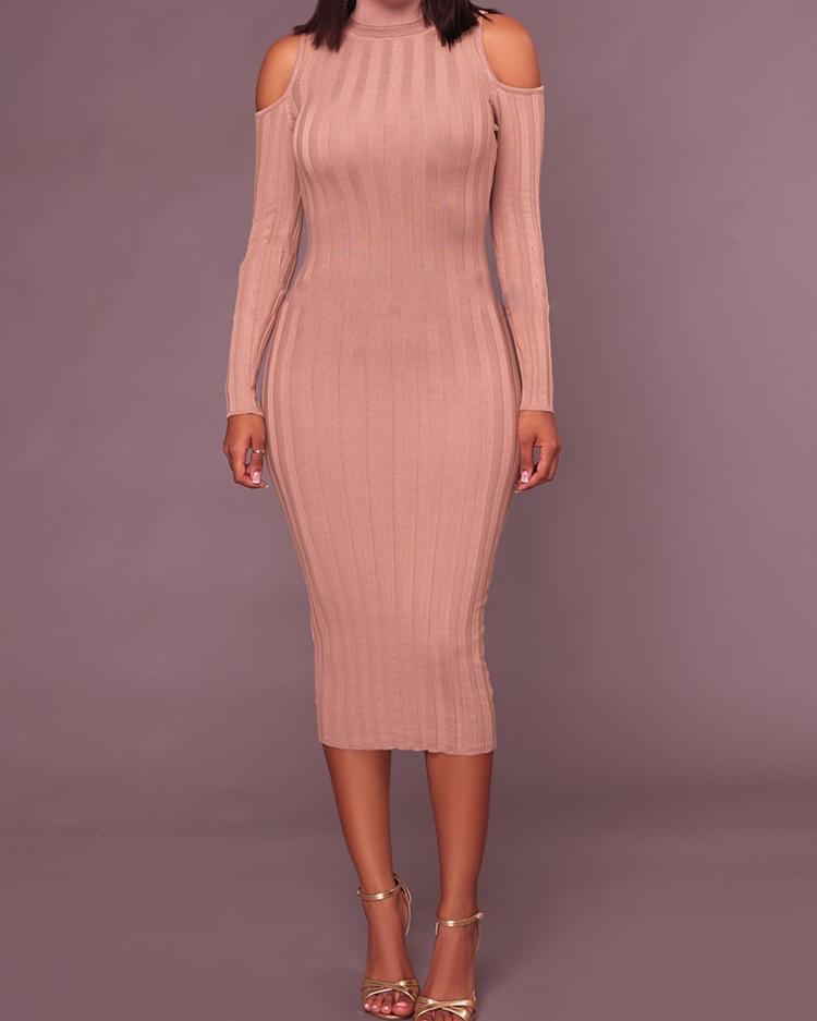 boutiquefeel / Vestido de ombro com decote em bico e gola alta