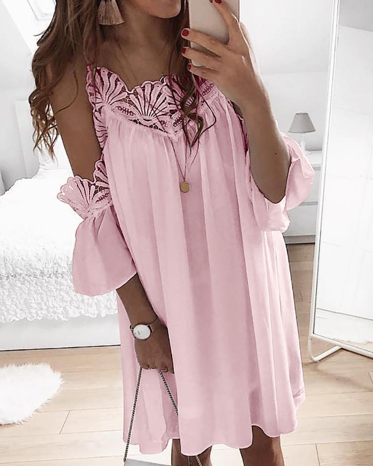Guipure Lace Cold Shoulder Casual Dress фото