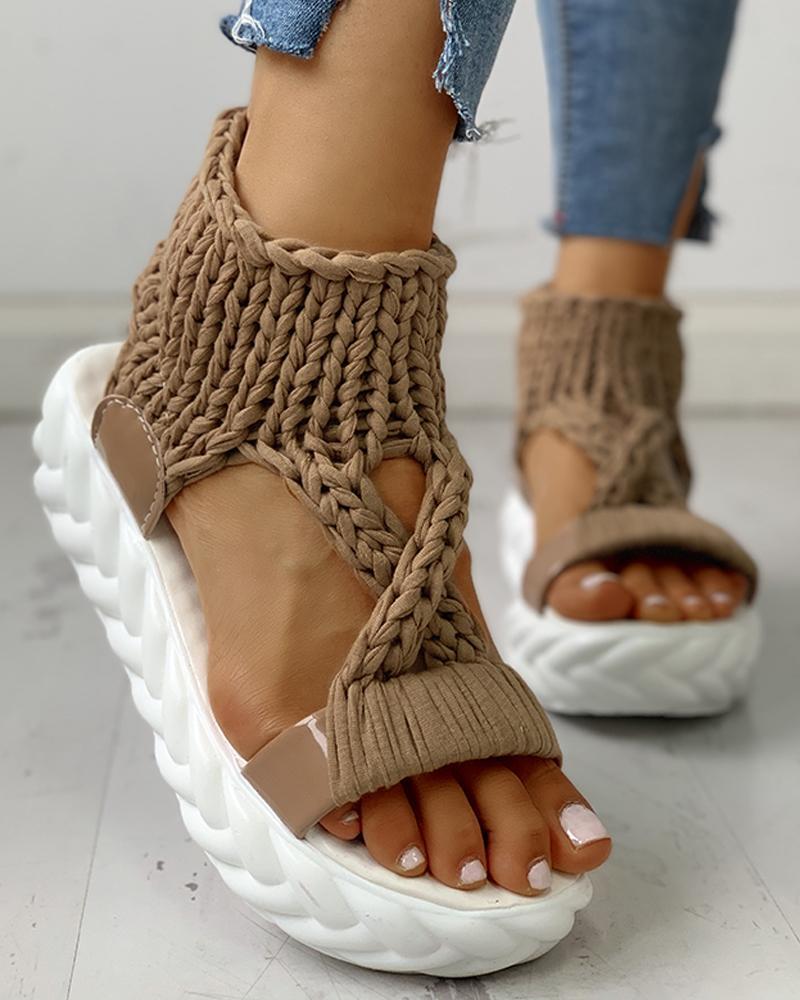 Knitted Cutout Crisscross Muffin Sandals фото