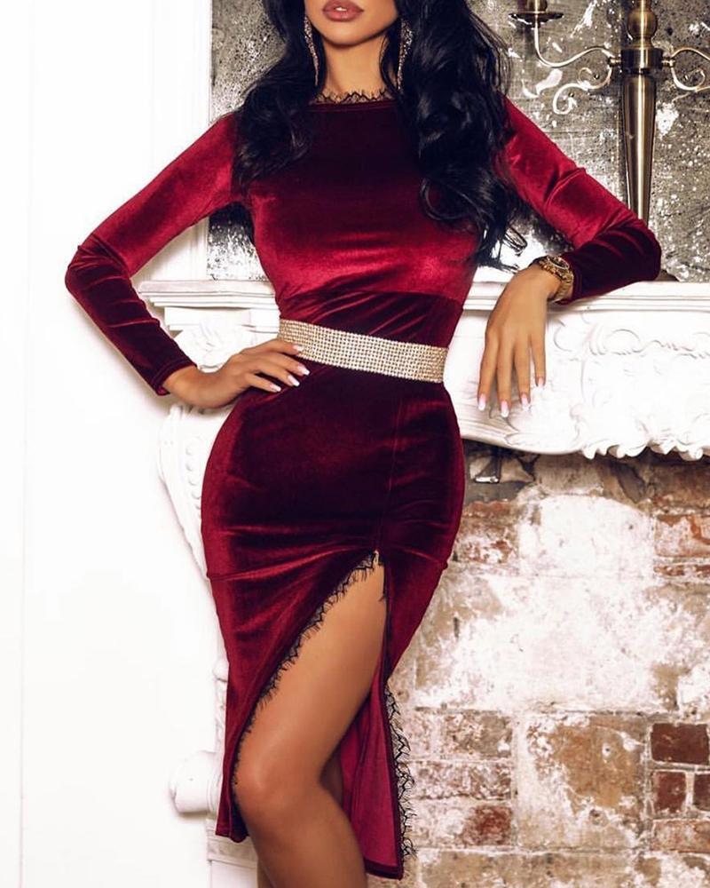 Lace Slide Slit Velvet Long Sleeve Dress фото