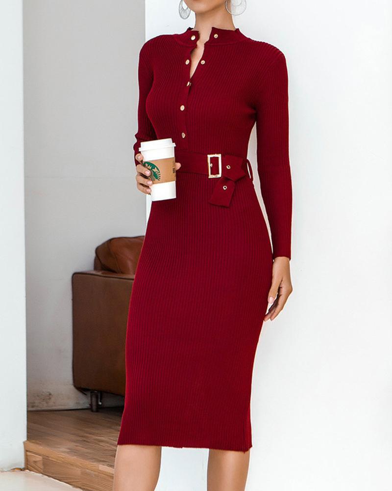 chicme / Plain Button Design Long Sleeve Midi Dress