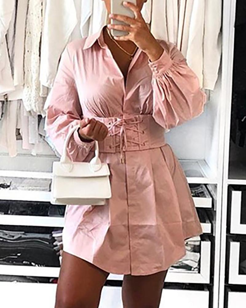 Solid Turn-down Collar Eyelet Lace-up Shirt Dress фото