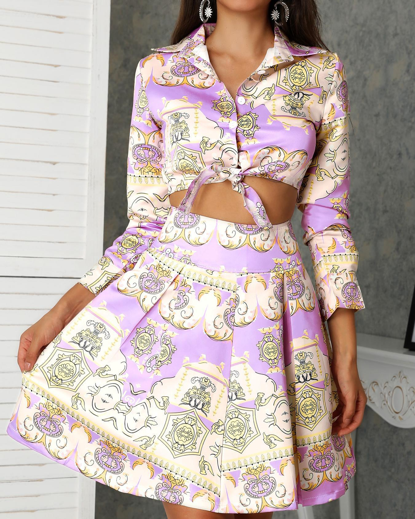 chicme / Ethnic Print Tie Shirt & Pleated Skirt Sets