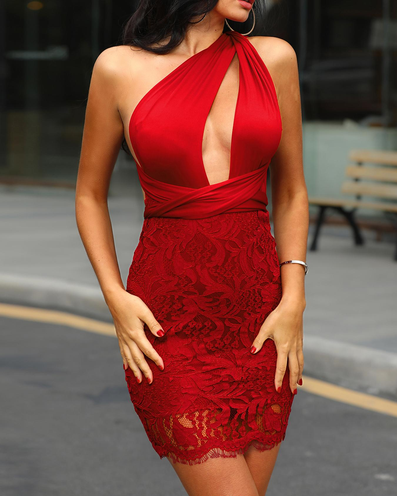 Twist Halter Backless Tie Waist Lace Party Dress, Wine red