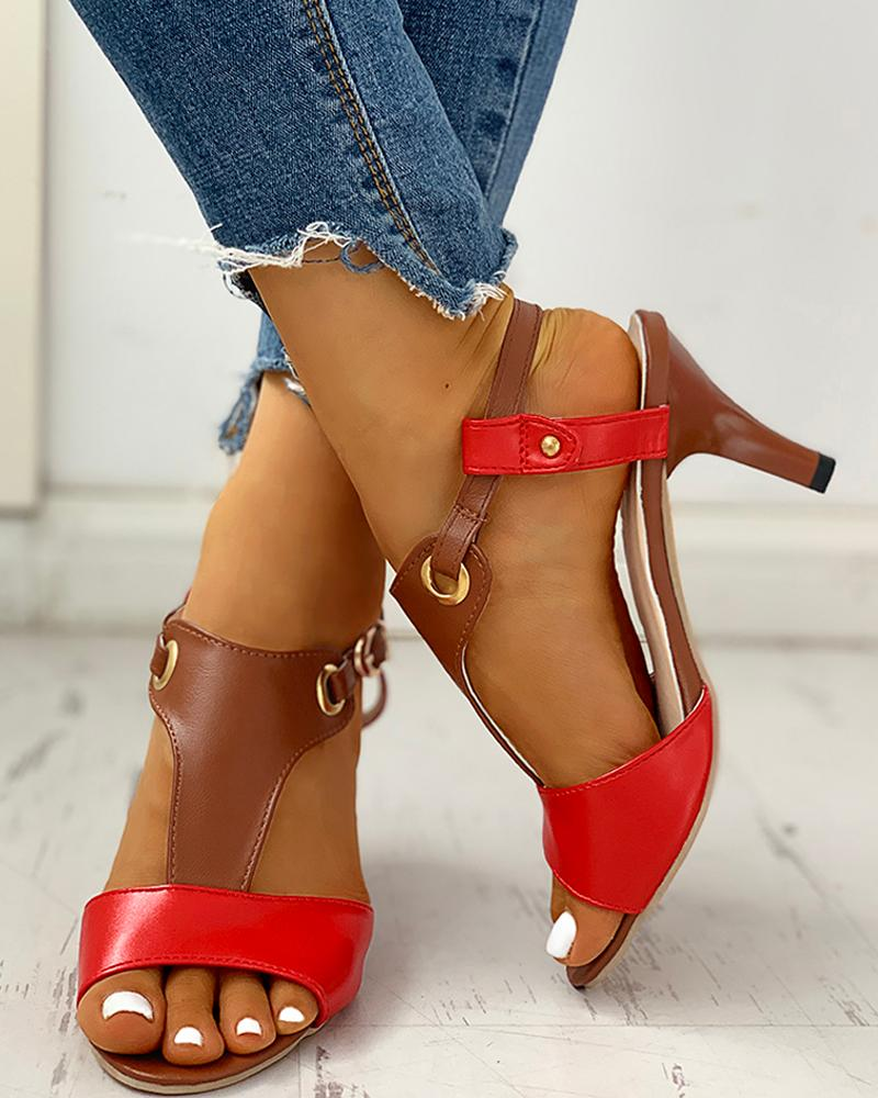 Peep Toe Eyelet Buckle Heeled Sandals