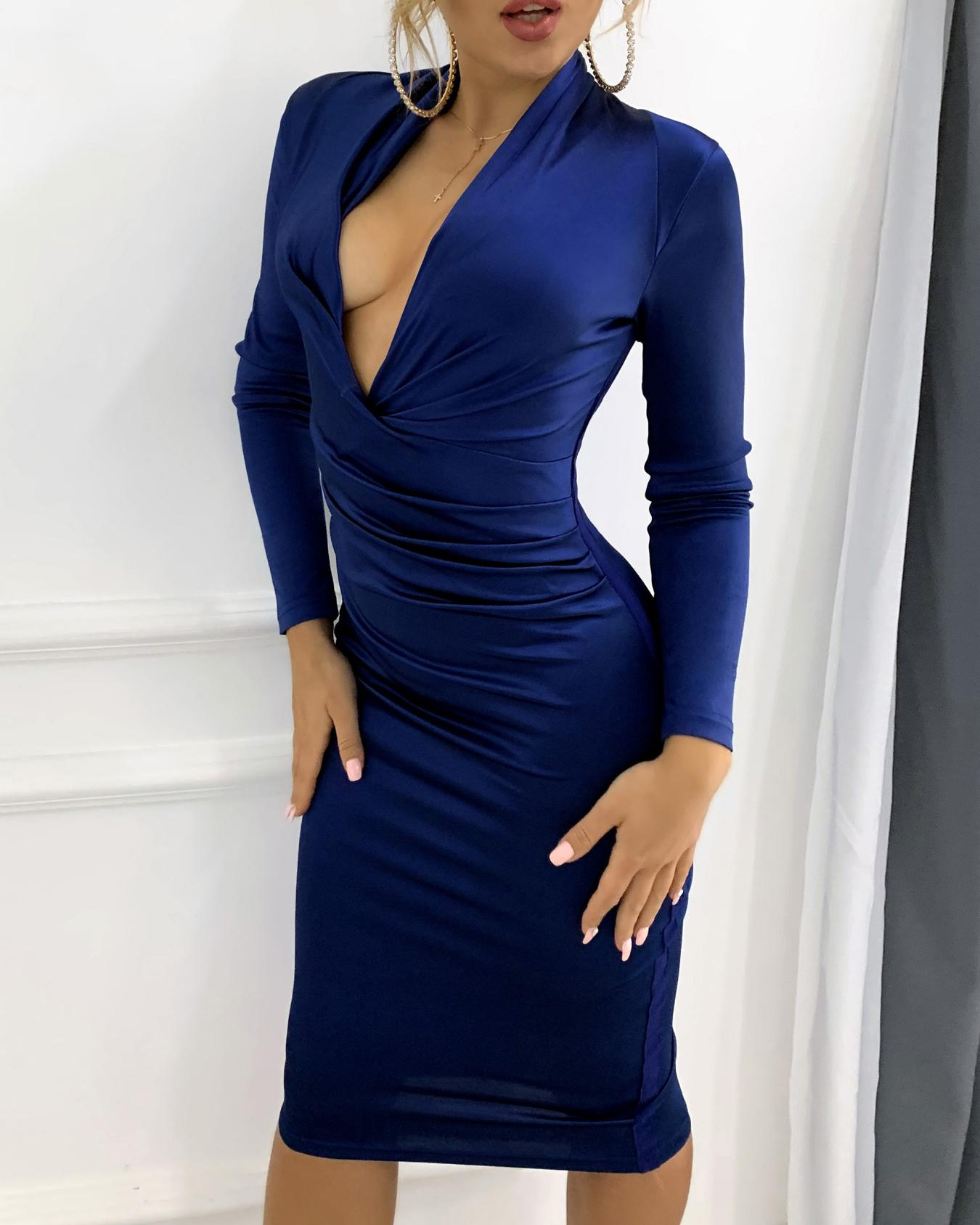 Plunge Ruched Long Sleeve Party Dress