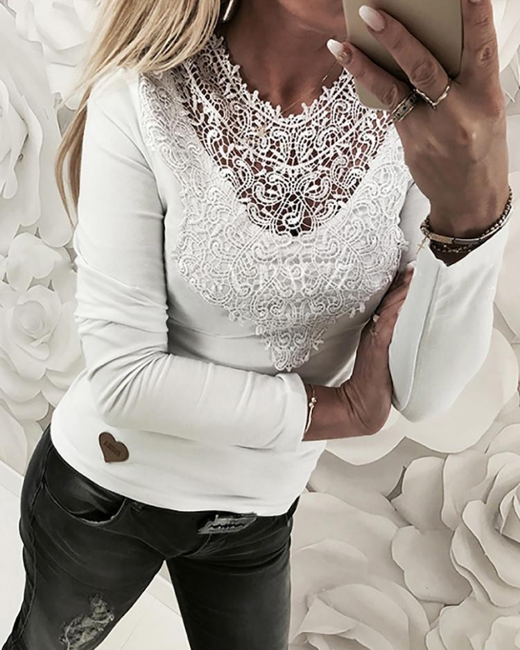 Lace Applique Slim Fit Shirt Blouse