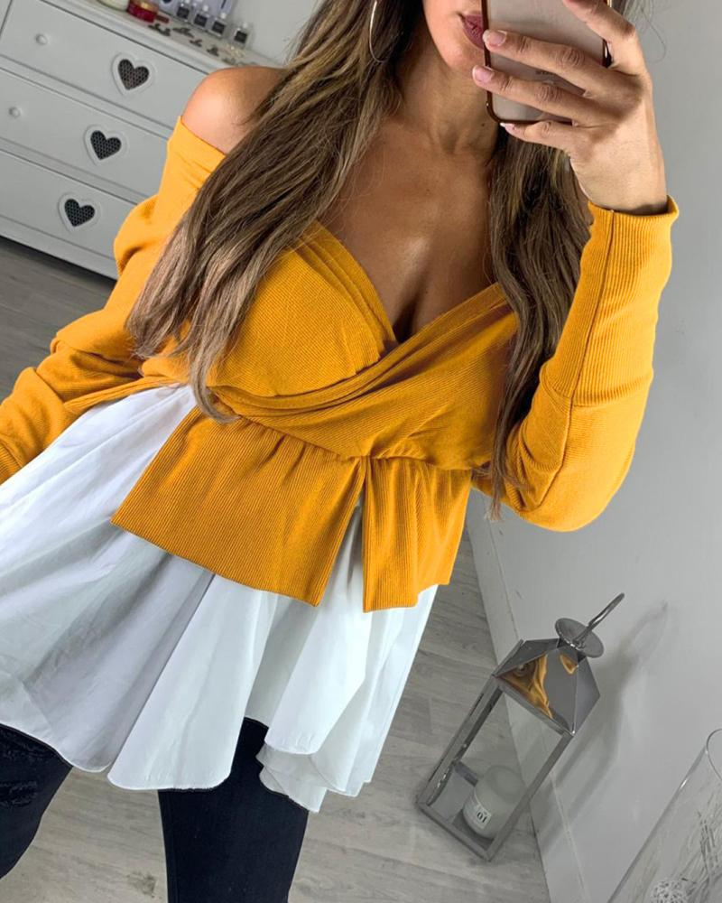 Off Shoulder Batwing Sleeve Colorblock Insert Ruffles Blouse фото
