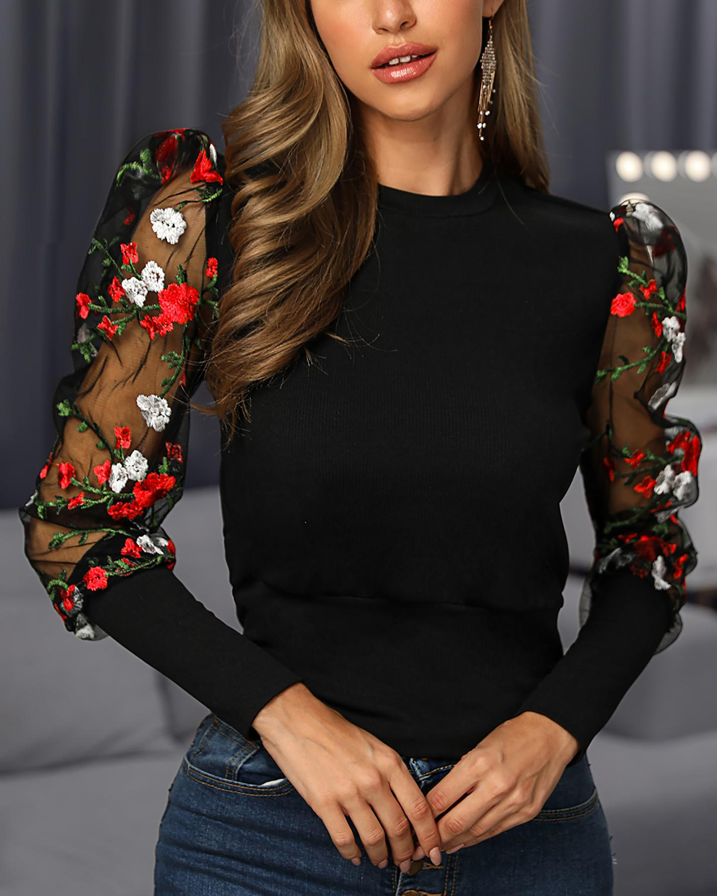 Floral Embroidery Patchwork Mesh Sleeve Blouse фото