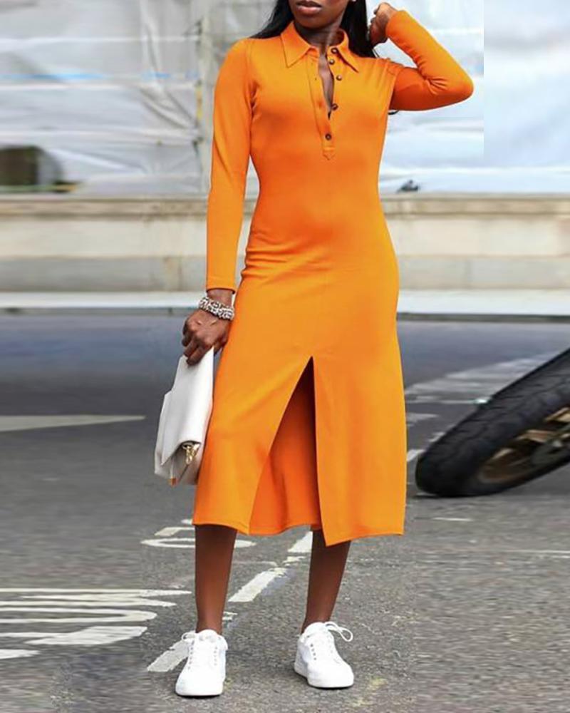 ivrose / Sólido botão detalhe manga comprida vestido de fenda