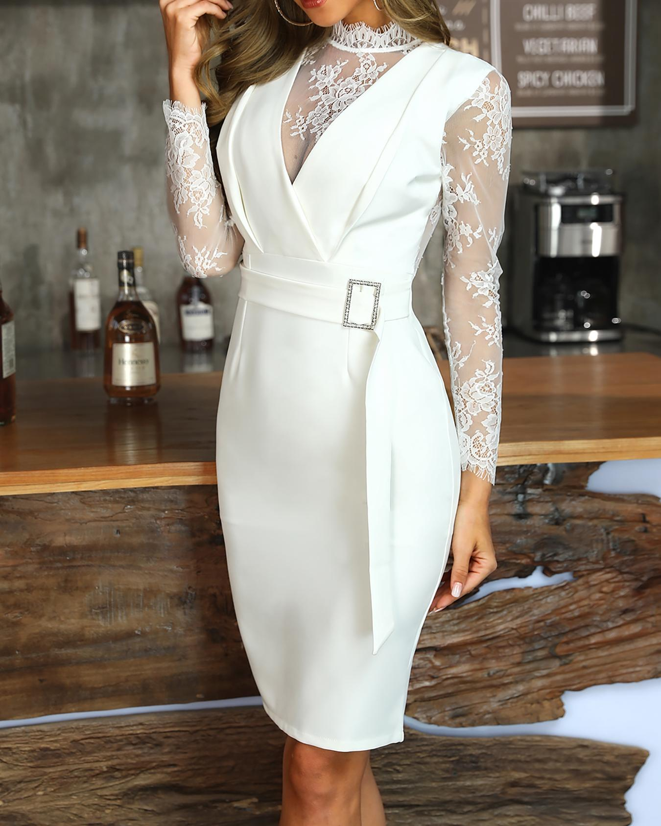 Sheer Eyelash Lace Patchwork Bodycon Dress