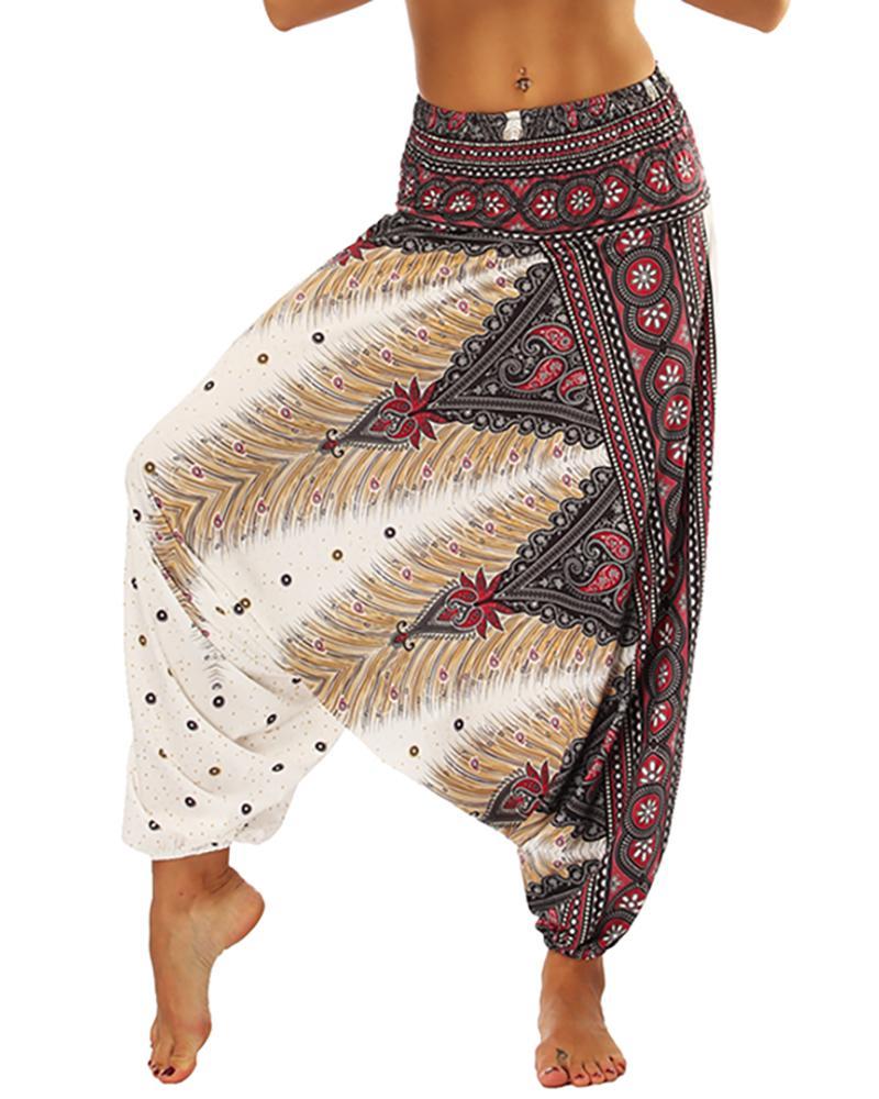 chicme / Imprimir cintura alta calças perna larga Yoga