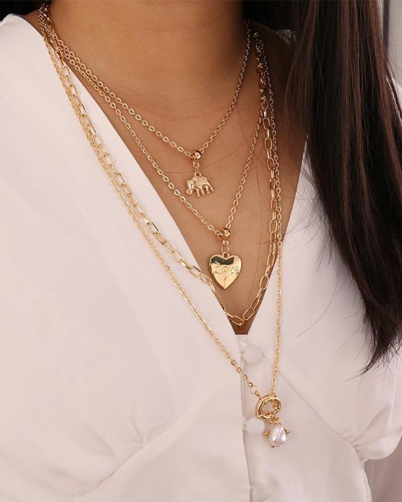 Elephant Love Sailor Buckle Multi-layer Necklace фото