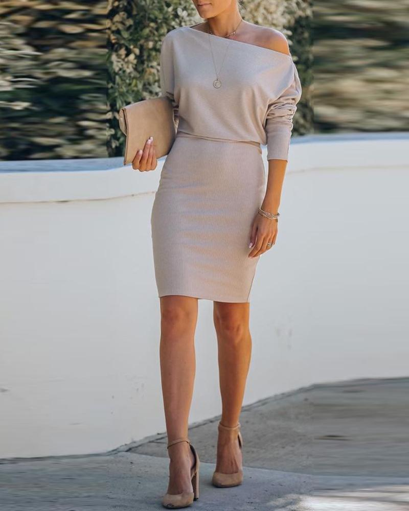 chicme / Ribbed Plain Long Sleeve Casual Dress