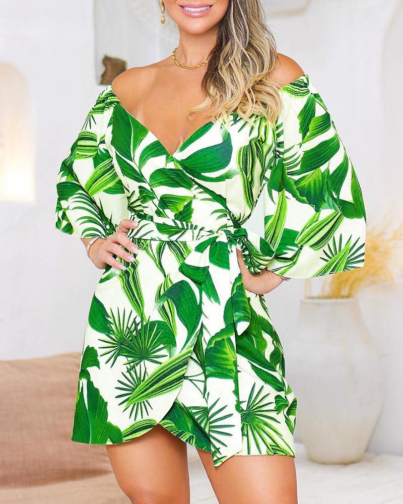 Off Shoulder Botanical Print Wrap Dress, Light green
