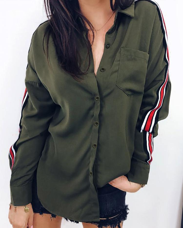 Colorful Striped Tape Pocket Design Shirt фото
