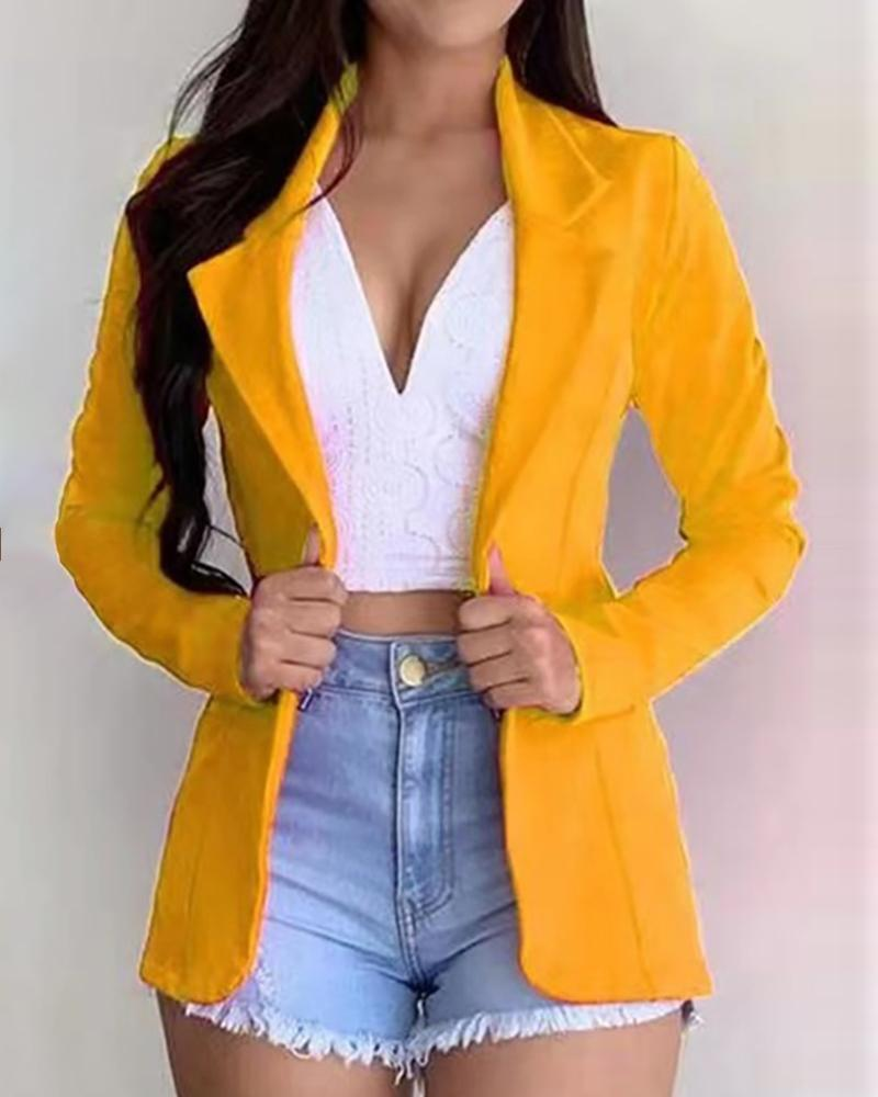 Solid Long Sleeve Blazer Coat фото