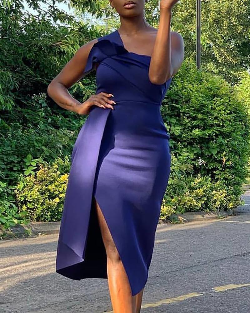 joyshoetique / One Shoulder Slit Bodycon Dress