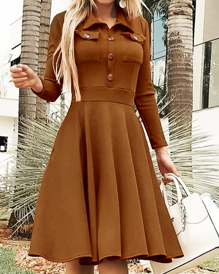 Solid Button Design Pleated Casual Dress