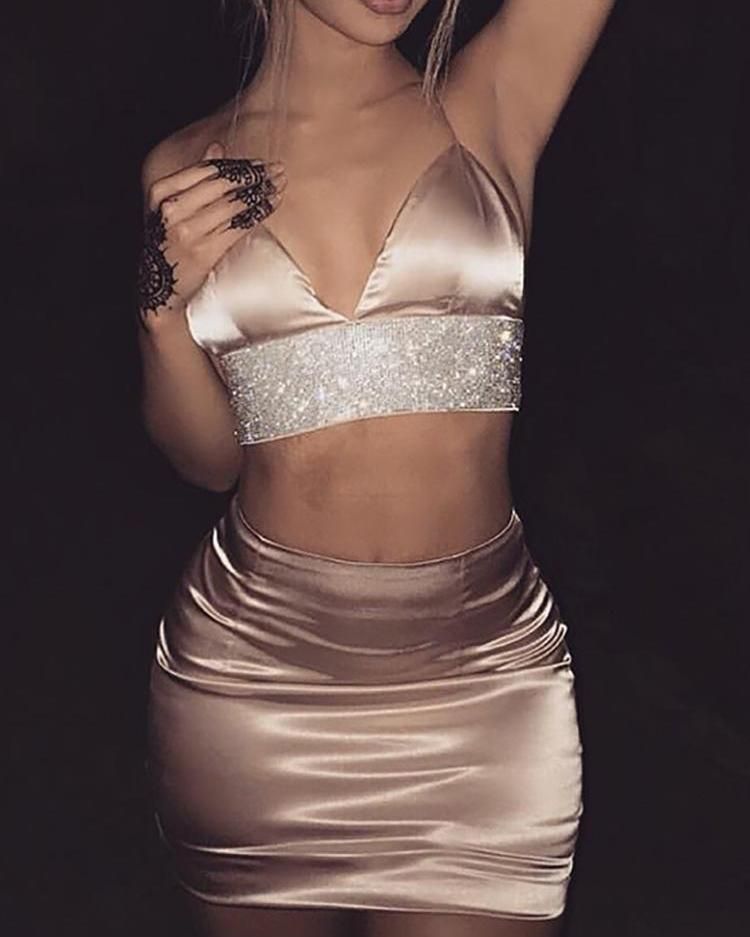 Solid High Waist Slinky Mini Skirts, Gold