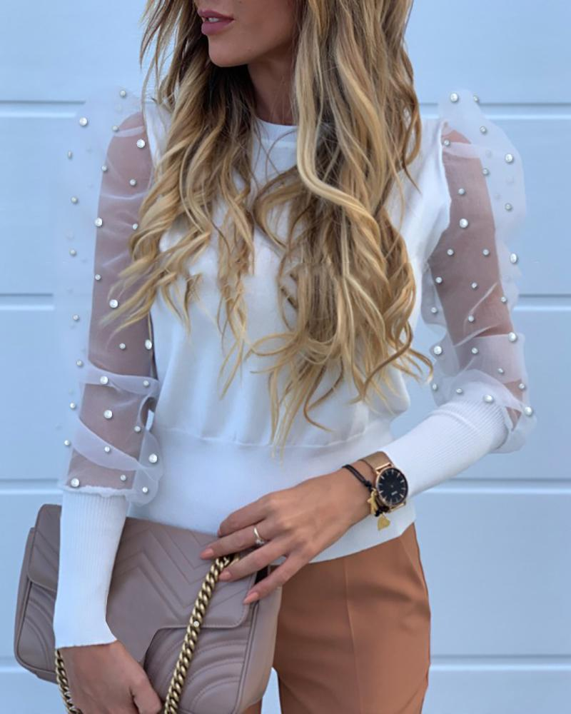 Beaded Design Puffed Sleeve Blouse фото