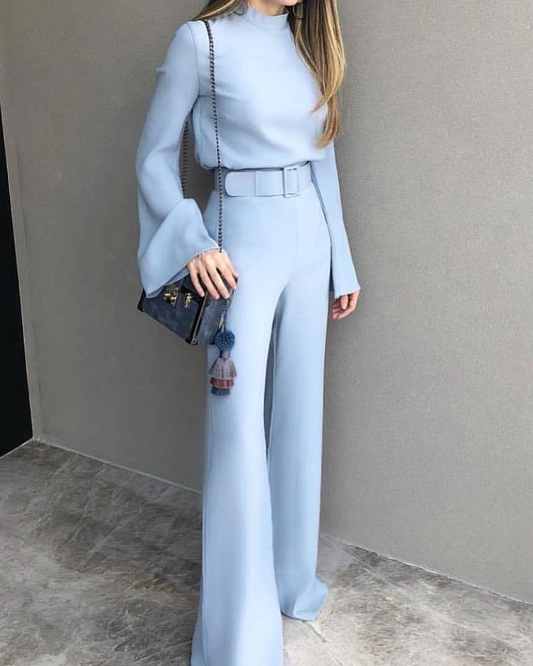 chicme / High Neck Bell Sleeve Wide Leg Jumpsuit With Belt